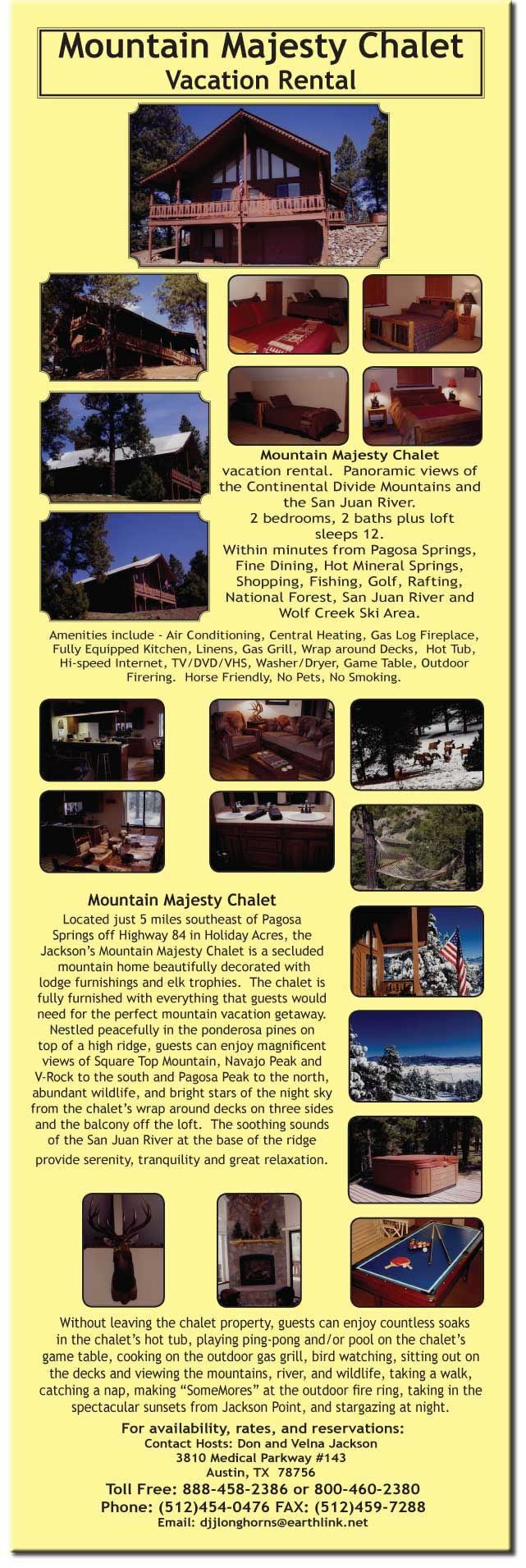 Mountain Majesty Chalet Vacation Rental